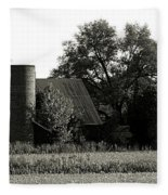Old Barn Outbuildings And Silo  Fleece Blanket