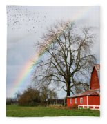 Old Barn Rainbow Fleece Blanket