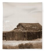 Old Barn With Mount Adams In Sepia Fleece Blanket