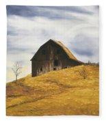 Old Barn With Windmill Fleece Blanket