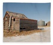 Old Barns And A Grain Bin Fleece Blanket