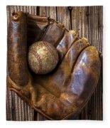 Old Baseball Mitt And Ball Fleece Blanket