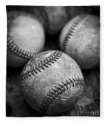Old Baseballs In Black And White Fleece Blanket by Edward Fielding