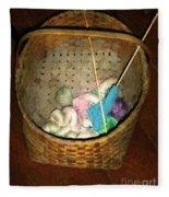 Old Basket New Yarn Fleece Blanket