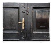 Old Black Closed Door Fleece Blanket
