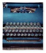 Old Blue Typewriter Fleece Blanket