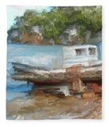 Old Boat At China Camp Fleece Blanket