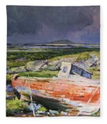 Old Boat On Shore Fleece Blanket