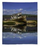 Old Boat Reflection Fleece Blanket