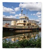 Old Boats Along The Exeter Canal 2 Fleece Blanket