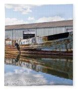 Old Boats Along The Exeter Canal Fleece Blanket