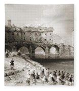 Old Boats Bridge, Limerick, Ireland Fleece Blanket