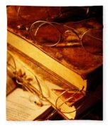 Old Books And Glasses Fleece Blanket