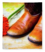 Old Boots And Daisy Fleece Blanket
