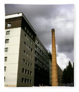 Old Brick Chimney Amongst Modern Office Buildings Near The Railway Station Perugia Umbria Italy Fleece Blanket