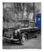 Old British Police Car And Tardis Fleece Blanket