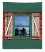 Old Cabin Window Fleece Blanket
