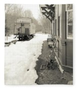 Old Caboose At Period Train Depot Winter Fleece Blanket