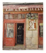 Old Cafe- Santander Spain Fleece Blanket