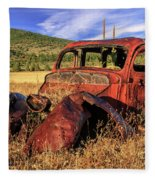Old Car At Susanville Ranch Fleece Blanket