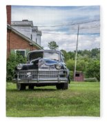 Old Car In Front Of House Fleece Blanket