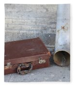 Old Cardboard Suitcase In The Street Fleece Blanket