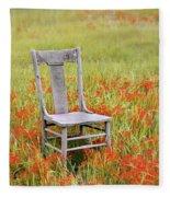 Old Chair In Wildflowers Fleece Blanket
