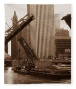 Old Chicago River Bridges Fleece Blanket