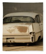 Old Cadillac In Sepia Tones Fleece Blanket