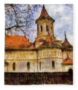 Old Church With Red Roof Fleece Blanket
