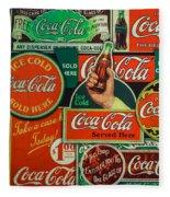 Old Coca-cola Sign Collage Fleece Blanket