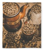 Old Coffee Brew House Beans Fleece Blanket