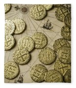 Old Coins On Old Map Fleece Blanket