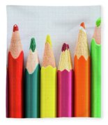 Old Colored Pencils Fleece Blanket