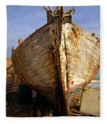 Old Dilapidated Wooden Boat  Fleece Blanket