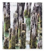Old Dock Remains Fleece Blanket