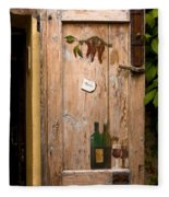 Old Door And Wine Fleece Blanket