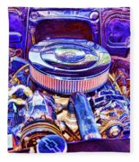 Old Engine Of American Car Fleece Blanket