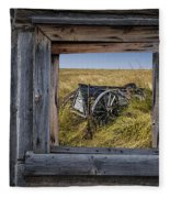 Old Farm Wagon Viewed Through A Barn Window Fleece Blanket