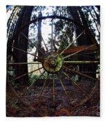 Old Farm Wagon Wheel Fleece Blanket