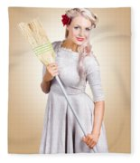 Old Fashion Woman Spring Cleaning With Broom Fleece Blanket