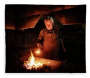 Old-fashioned Blacksmith Heating Iron Fleece Blanket