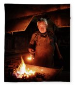 Old-fashioned Blacksmith Heating Iron Fleece Blanket