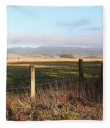Old Fence And Landscape Along Sir Francis Drake Boulevard At Point Reyes California . 7d9965 Fleece Blanket