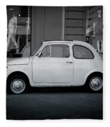 Old Fiat On The Streets Of Florence Fleece Blanket