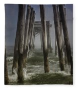 Old Fishing Pier Ocnj Fleece Blanket
