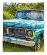 Old Ford Pick Up Truck Pencil Fleece Blanket
