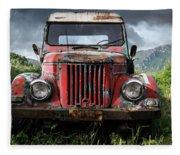 Old Forgotten Red Car Fleece Blanket