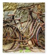 Old French Bicycles Fleece Blanket