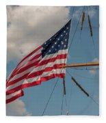Old Glory Flying Over Eagle Fleece Blanket
